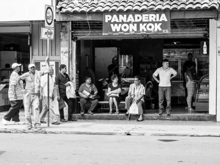 Waiting for the bus, Parque Santa Ana, Panama